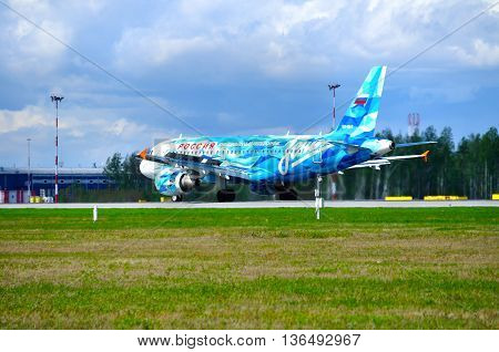 SAINT PETERSBURG RUSSIA -MAY 11 2016.VQ-BAS Rossiya Airbus A319 airplane FC Zenit livery after landing in Pulkovo airport.