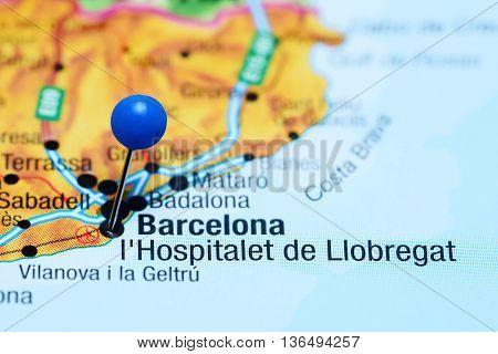 L Hospitalet de Llobregat pinned on a map of Spain