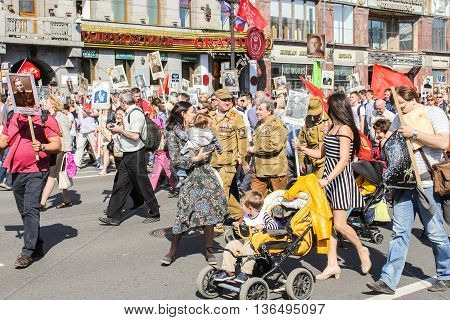 St. Petersburg, Russia - 9 May, Men, women and children in the column immortal regiment, 9 May, 2016. Holiday-action