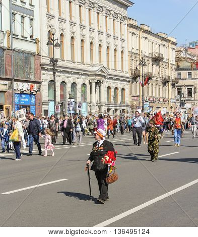 St. Petersburg, Russia - 9 May, Woman veteran with a cane, 9 May, 2016. Holiday-action