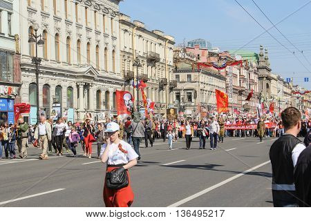 St. Petersburg, Russia - 9 May, People with big red flags, 9 May, 2016. Holiday-action