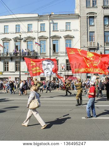 St. Petersburg, Russia - 9 May, Large flag of the Soviet Union, 9 May, 2016. Holiday-action