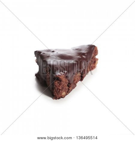 Chocolate pie on a white background