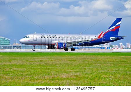 ST PETERSBURGRUSSIA-MAY 11 2016.VQ-BPW Aeroflot Airbus A320 airplane is riding on the runway after arrival at Pulkovo airport.