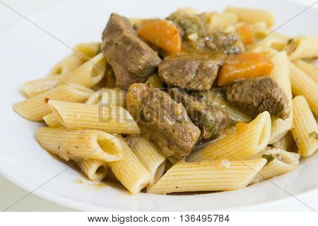 Beef goulash with macaroni freshly cooked and served
