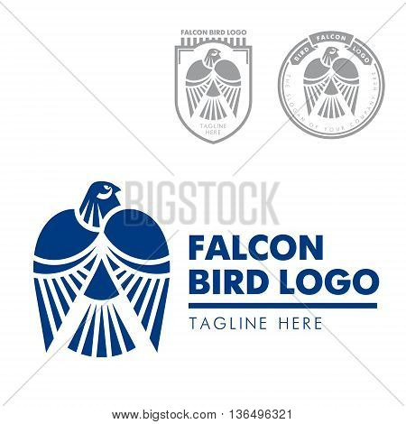 Template corporate company signs. Bird, eagle, falcon. Corporate style. Male logo. Serious, rigorous.