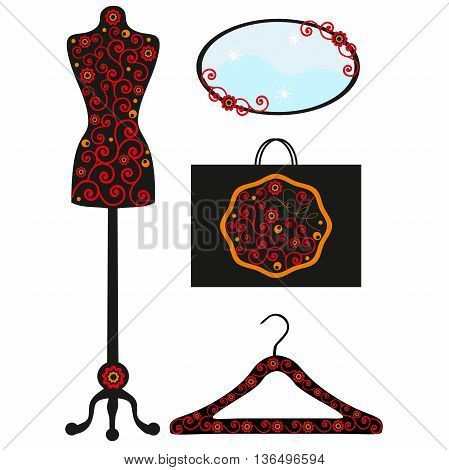 Hanger with a pattern, a dummy with drawing, a mirror with a flower, a package from shop, a pattern orange flowers, vintage mannequin