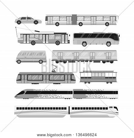 City transport set and public city transport: taxi, bus, subway, train. City transport vector flat illustrations and traffic vehicle street city transport. Tourism modern business taxi truck.
