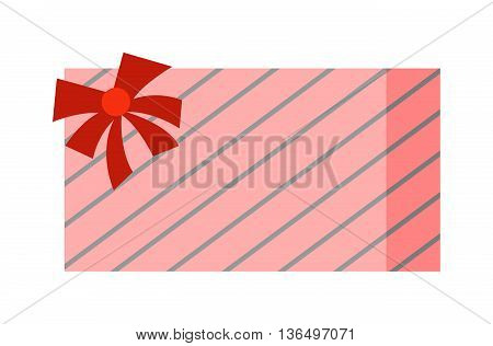 Vector gift box cardboard empty container packaging. Gift box carton package paper, ribbon bow. Gift box celebration holiday warehouse receive icon