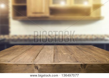 Desk space with kitchen background product display.