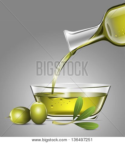 Serving olive oil in glass container with olive leaf