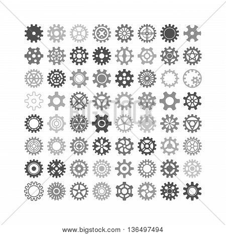 Vector black gears icons set machine wheel mechanism machinery mechanical, technology technical sign. Engineering symbol, round element gears icons. Gears icons work concept, industrial design.