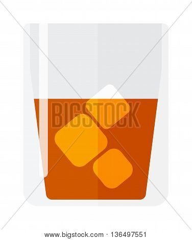 Whisky and ice shot cup vector illustration. Beverage whisky shot cup. Whisky shot cup pub liquid, cocktail brandy short drink with ice. Party drunk symbol