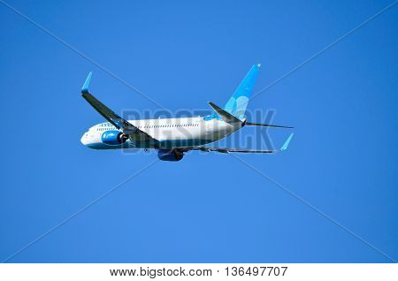 SAINT PETERSBURGRUSSIA-MAY 11 2016. VQ-BTC Pobeda Airlines Boeing 737 Next Gen airplane.Airplane is flying in the sky after departure.