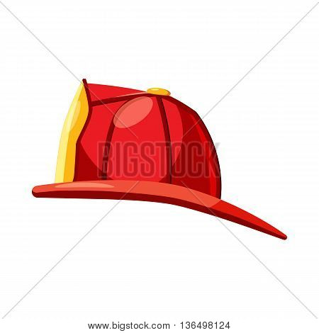 Helmet for a firefighter icon in cartoon style on a white background