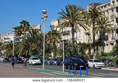 Nice France - april 19 2016 : the Promenade des Anglais