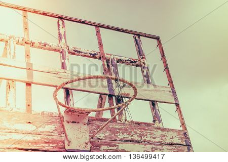 Old outdoor basketball ( Filtered image processed vintage effect. )