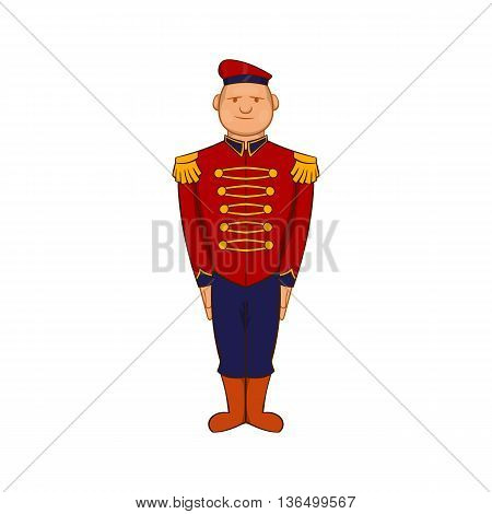 Man wearing army uniform 19th century icon in cartoon style on a white background
