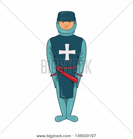 Man in a blue uniform with a cross on his chest icon in cartoon style on a white background