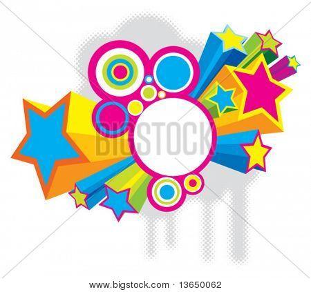 Estrelas de disco coloridas bonitas. vector