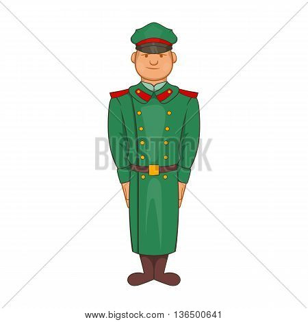 Military officer in greatcoat icon in cartoon style on a white background
