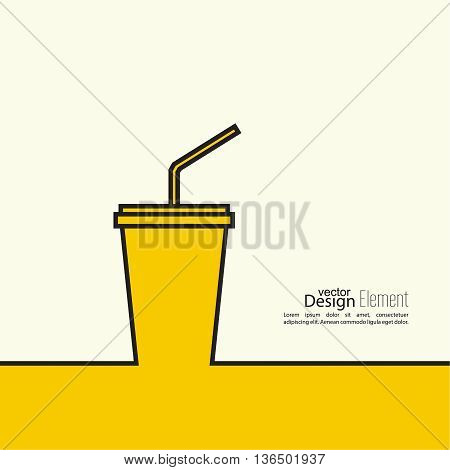 Abstract background with  paper cup and  drink with a straw. Line art