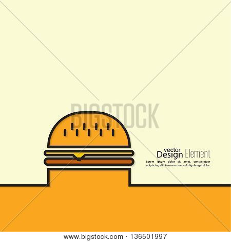 Hamburger icon on background. Fast Food. Calories and fatty foods. Outline. minimal. Line art. Burger