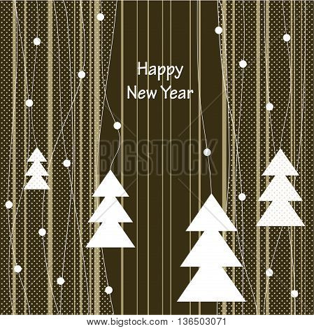 Cover design with the white Christmas Trees and the phrase 'Happy New Year' on the striped background.