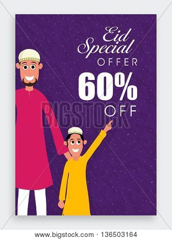 Eid Special Offer with 60% Off, Eid Sale Poster, Sale Banner, Sale Flyer, Sale Background with illustration of Religious Muslim Man and Cute Boy, Concept for Islamic Traditional Festival celebration.