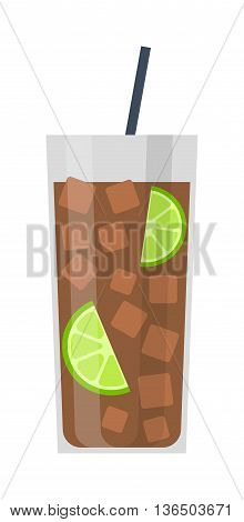 Amber cocktail in glass isolated on white background. Alcohol drink martini cocktail glass. Cocktail glass tropical whiskey cold champagne. Fresh drink alcohol drink cold vector glass.
