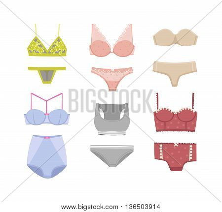 Underwear silhouette isolated male and female underwear isolated on white background. Underwear isolated vector clothing cotton textile pants and underwear isolated beauty bra woman accessory design.