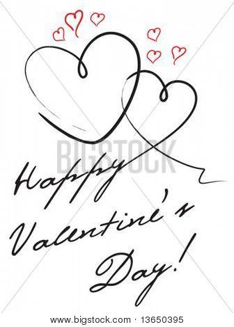 Cute valentine's postcard. vector.