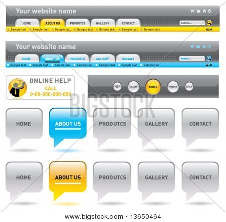 Web navigation templates. vector