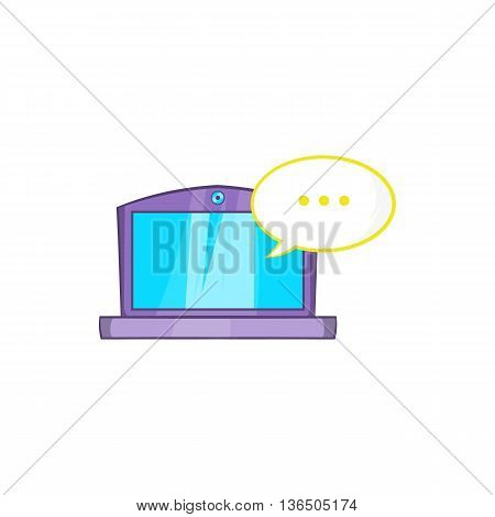 Online computer chat icon in cartoon style on a white background