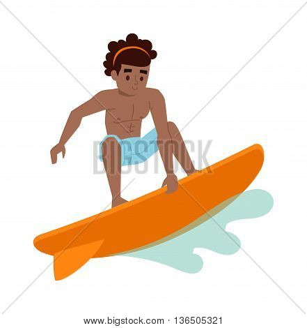 Vector surfing boy standing. Surfing people surfer boy, water sports. Sunny beach water hobby surfing people summer vacation lifestyle. Tropical waves teenager leisure.
