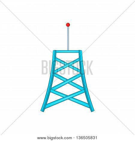 Wireless connection tower icon in cartoon style on a white background