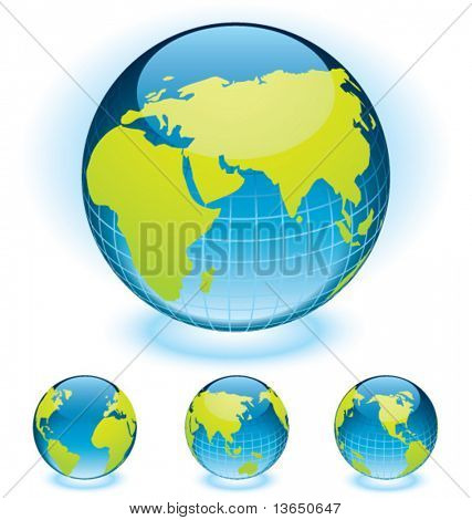 Vector globe aqua styled. Fully editable.