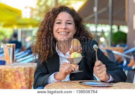 Attractive Woman With A Large Ice-cream Sundae