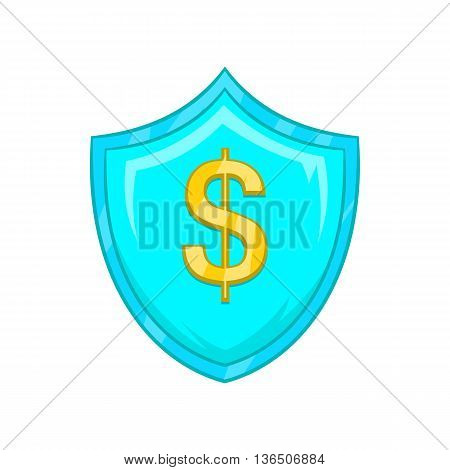 Dollar sign on a sky blue shield with tick icon in cartoon style on a white background