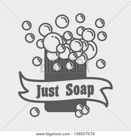 Soap With Foam Logo Or Label Template. Vector Illustration With Foam Bubbles. Can Be Used For Design