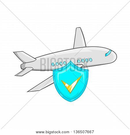 Aircraft and sky blue shield with tick icon in cartoon style on a white background