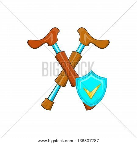 Crossed crutches and sky blue shield with tick icon in cartoon style on a white background