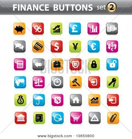 Vector. Finance buttons, web elements.