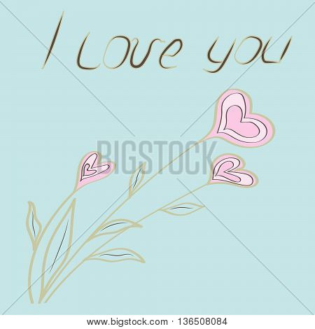 Hand-drawing card - I LOVE YOU. Bouquet of hearts in pastel colours on blue background