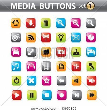 Vector brillante botones e iconos para aplicaciones Web.