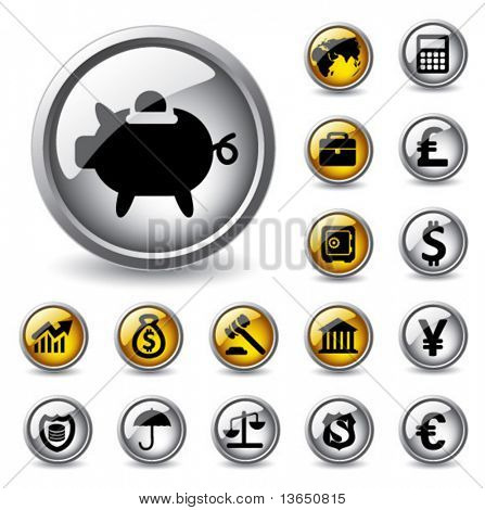 Vector glossy finance buttons.