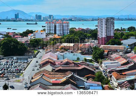 PENANG, MALAYSIA- 30 May, 2016: Skyline of Georgetown on May30, 2016 in Penang, Malaysia. George Town is the capital and largest city of the state of Penang