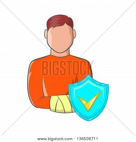 Man with broken arm and sky blue shield with tick icon in cartoon style on a white background