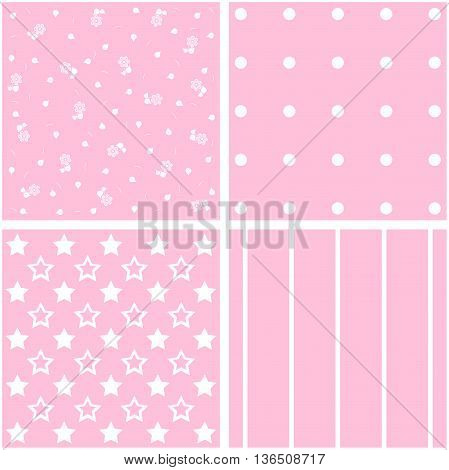 Vector set of 4 background patterns in light pink.