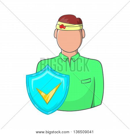 Man with a wound on his head, accident insurance icon in cartoon style on a white background